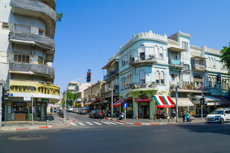 TEL-AVIV, ISRAEL - AUGUST 31, 2016: Scene of Allenby street, with Bauhaus style buildings, local businesses, locals and visitors. In Tel-Aviv, Israel