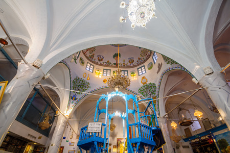 SAFED, ISRAEL - SEPTEMBER 14, 2016: The Abuhav Synagogue, in the Jewish quarter, in Safed (Tzfat), Israel. It is a 15th-century synagogue, named after the Spanish rabbi and kabbalist, Isaac Abuhav Editorial
