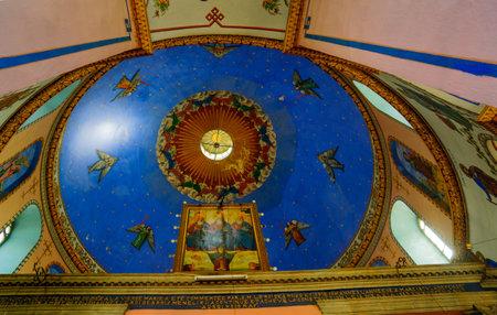 holyland: JERUSALEM, ISRAEL - SEPTEMBER 23, 2016: The dome of the Ethiopian Orthodox Tewahedo Church, in Jerusalem, Israel