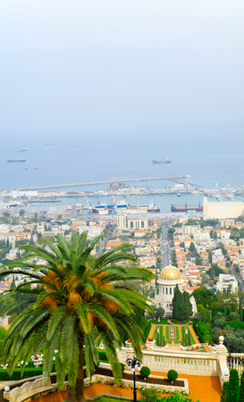 View of the Bahai Gardens, the German Colony and the harbor, in Haifa, Israel Stock Photo