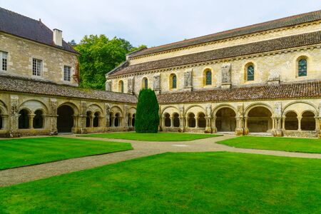 MONTBARD, FRANCE - OCTOBER 13, 2016: The Abbey of Fontenay cloister, in Burgundy, France Editorial