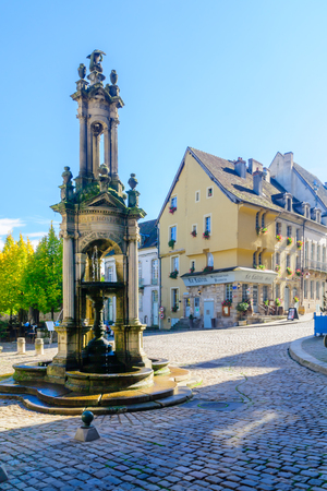 AUTUN, FRANCE - OCTOBER 16, 2016: The Saint-Lazare Fountain, in Autun, Burgundy, France