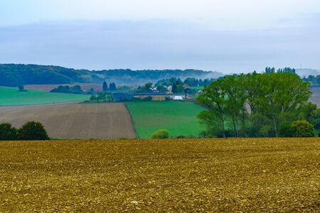 Countryside in a rainy day, in Nievre, Burgundy, France