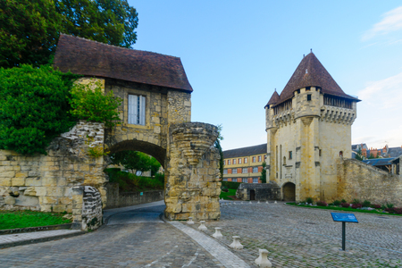 The Porte du Croux gate and tower, in Nevers, Burgundy, France Editorial