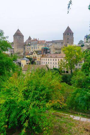 View of the medieval fortifications of Semur-en-Auxois, in Burgundy, France