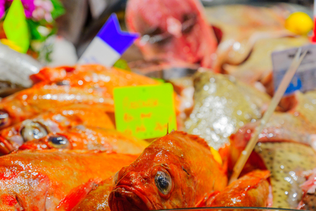 Various fish on sale in a French market in Dijon, Burgundy, France