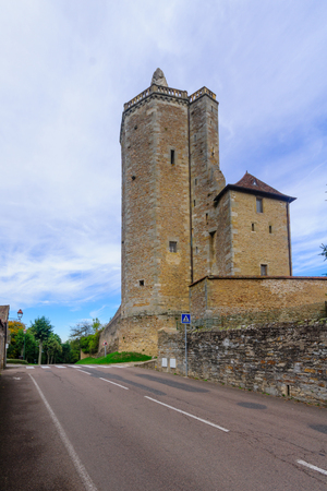 The Ursulines Tower, remaining element of the medieval fortress of Riveau, in Autun, Burgundy, France