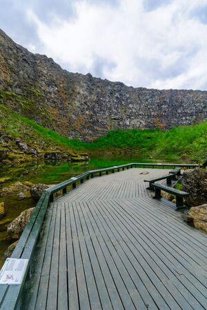 The Asbyrgi canyon, in Vatnajokull National Park, Northeast Iceland Stock Photo