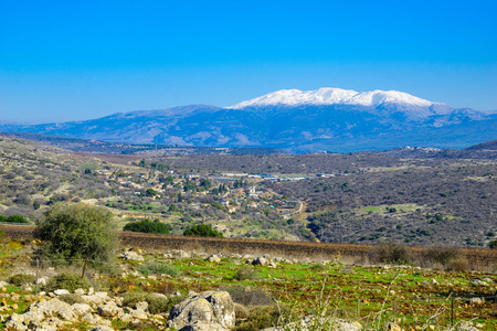 View of the Hula Valley and Mount Hermon, Northern Israel Stock Photo