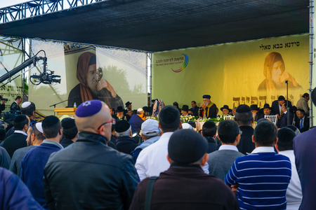 sephardi: NETIVOT, ISRAEL - JANUARY 30, 2017: Rabbi Yitzhak Yosef (the Sephardi Chief Rabbi of Israel) speaks to the crowd in the annual hillula of Rabbi Israel Abuhatzeira (Baba Sali) memory. Netivot, Israel Editorial