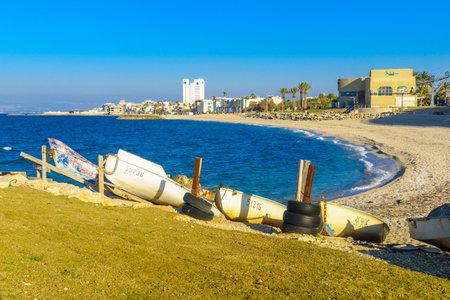 HAIFA, ISRAEL - FEBRUARY 05, 2017: View of the Bat-Galim coast and Neighborhood, with boats and visitors, in Haifa, Israel Editorial