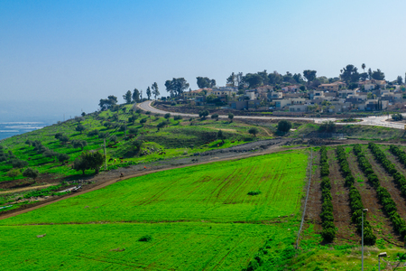 View of kibbutz Alumot and nearby countryside, in northern Israel Stock Photo - 72193542