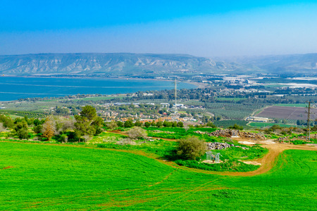 View of the southern part of the Sea of Galilee, and nearby villages, in northern Israel Stock Photo