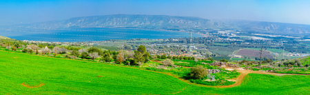 Panoramic view of the southern part of the Sea of Galilee, and nearby villages, in northern Israel