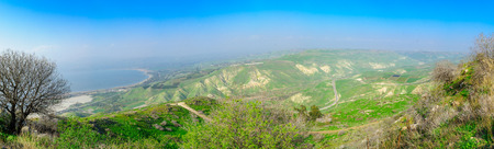 Panoramic view of the Golan Heights and the northern part of the Sea of Galilee, Northern Israel