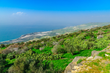 View of the northern part of the Sea of Galilee, from the east, Northern Israel Stock Photo