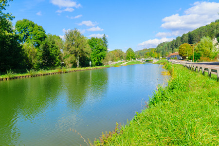 View of the Burgundy Canal, in Cote dOr, Burgundy, France Stock Photo