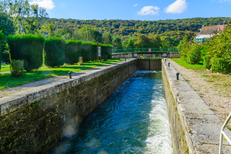 View of a lock in the Burgundy Canal, in Cote dOr, Burgundy, France