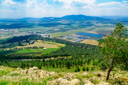 The Jezreel Valley landscape, viewed from Mount Precipice. Northern Israel Stock Photo