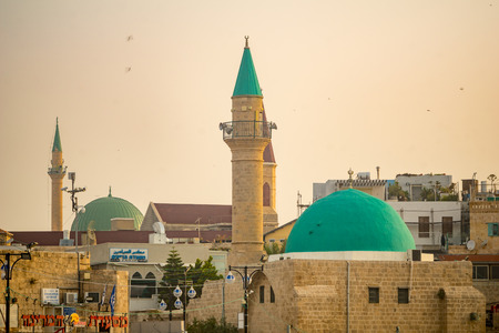 ACRE, ISRAEL - APRIL 27, 2017: The Sinan Basha Mosque (alBahr Mosque), and other monuments in the old city of Acre (Akko), Israel