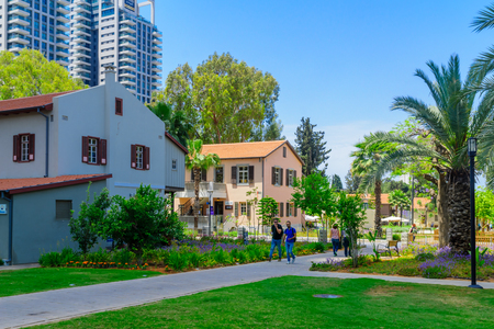 TEL-AVIV, ISRAEL - MAY 18, 2017: Scene of the Sarona compound, with visitors, in Tel-Aviv, Israel. It was established in Haifa in 1871 by the German Templers, and now restored as a commercial area