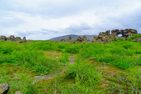 The Dimmuborgir area, with various volcanic caves and rock formations. Near Lake Myvatn, Northeast Iceland