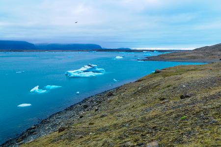 frozen lake: View of the Jokulsarlon glacier lagoon, in southeastern Iceland