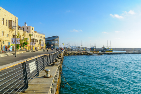 TEL-AVIV, ISRAEL - JUNE 02, 2017: Scene of the old port of Jaffa, with locals and visitors, now part of Tel-Aviv-Yafo, Israel