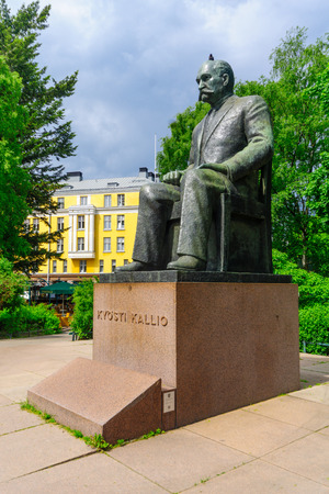HELSINKI, FINLAND - JUNE 17, 2017: Monument of Kyosti Kallio (the fourth President of Finland), in Helsinki, Finland