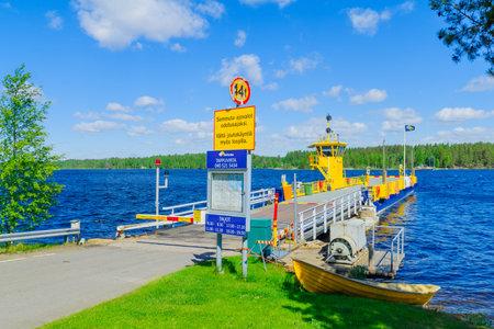 TAPPUVIRTA, FINLAND - JUNE 19, 2017: View of the car ferry in Tappuvirta, Sothern Savonia, Lakeland region, Finland Editorial