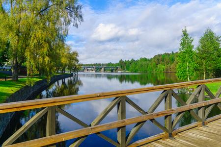 View of lake and a train bridge in Savonlinna, Finland Stock Photo