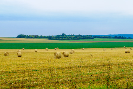 Countryside and haystacks in Yonne department, Burgundy, France