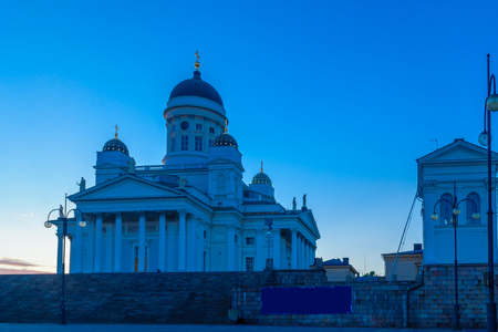 Sunset view of the Lutheran Cathedral, in Helsinki, Finland