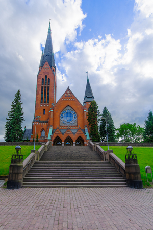 redbrick: View of the Neo-Gothic redbrick Michaels Church, in Turku, Finland