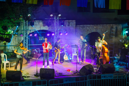 SAFED, ISRAEL - AUGUST 23, 2017: Group of musicians (Gute Gute) play at the Klezmer Festival in Safed (Tzfat), Israel. Its the 30th annual traditional Jewish festival in the public streets of Safed