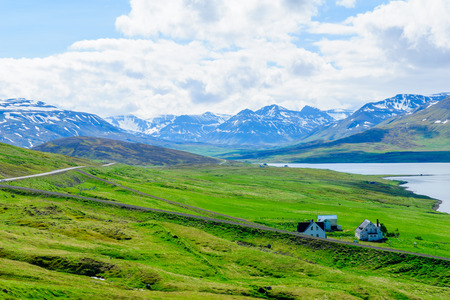 View of countryside and the Miklavatn Lake, in Northern Iceland