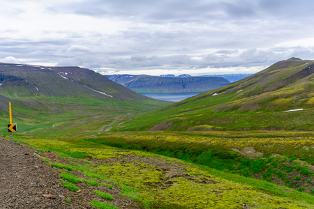 Landscape of Hrafnseyrarheidi (mountain road), in the west fjords region, Iceland Stock Photo