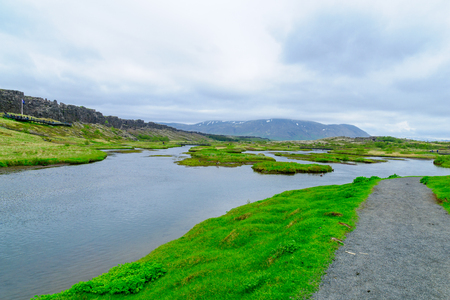 Rift valley landscape, in Thingvellir National Park, Iceland