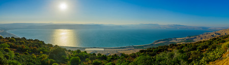 Panoramic view of the Sea of Galilee (the Kinneret lake), from the east, Northern Israel Stok Fotoğraf - 87325673