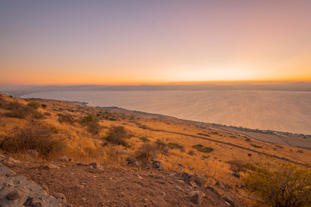 View of the southern part of the Sea of Galilee (the Kinneret lake), from the east, at sunset, Northern Israel Stock Photo