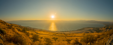Panoramic view of the Sea of Galilee (the Kinneret lake), from the east, at sunset, Northern Israel
