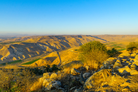 Landscape of Nachal (stream) Samach and the Golan Heights, Northern Israel