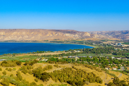 View of the southern part of the Sea of Galilee (the Kinneret lake), and nearby villages, in northern Israel Stock Photo