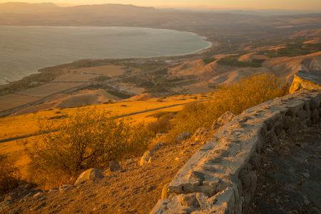 View of the northern part of the Sea of Galilee (the Kinneret lake), from the east, at sunset, Northern Israel Foto de archivo