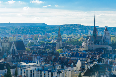 An aerial view of the historic center of the city, in Dijon, Burgundy, France