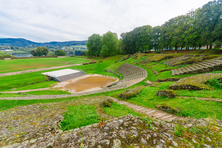 The roman theater remains in Autun, Burgundy, France