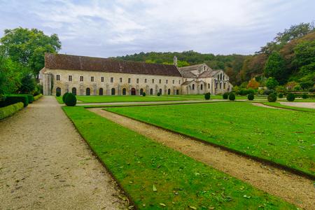 The Abbey of Fontenay yard, in Burgundy, France