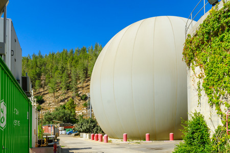 JERUSALEM, ISRAEL - OCTOBER 26, 2017: View of a Methane gas recycling tank, part of a Sewage Treatment Plant, in the Sorek Valley, near Jerusalem, Israel Editorial