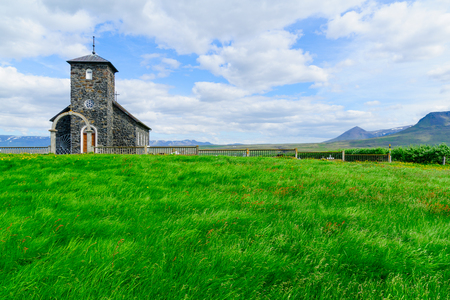 View of the old church of Thingeyrar, northwest Iceland