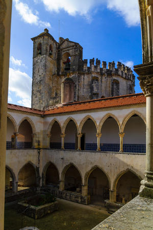 TOMAR, PORTUGAL - DECEMBER 27, 2017: View of a cloister in the Convent of Christ, in Tomar, Portugal